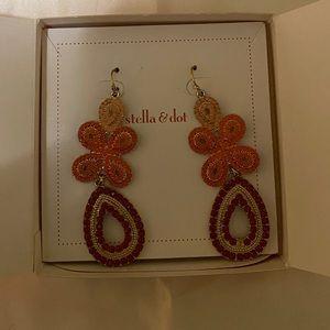 Stella & Dot Capri Chandelier Earrings - Coral